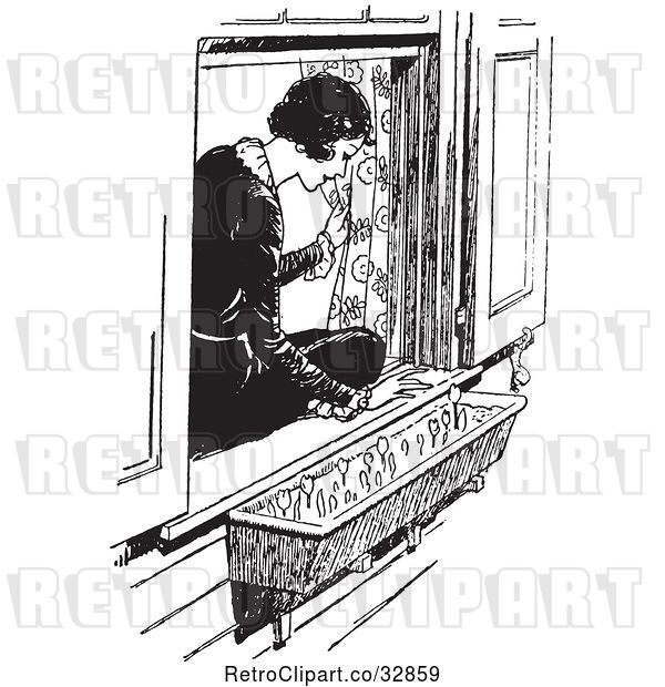 Vector Clip Art of Retro Lady Sitting in a Window Sill and Looking at Flowers