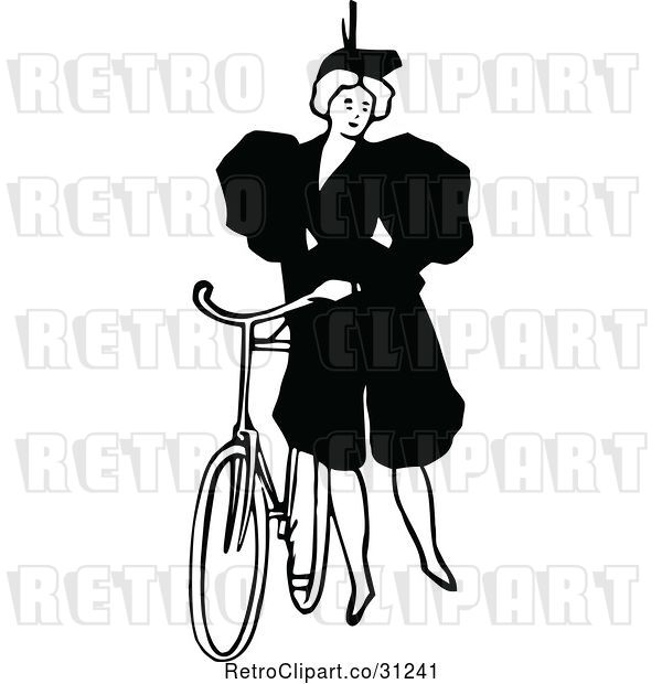 Vector Clip Art of Retro Lady Standing by a Bicycle