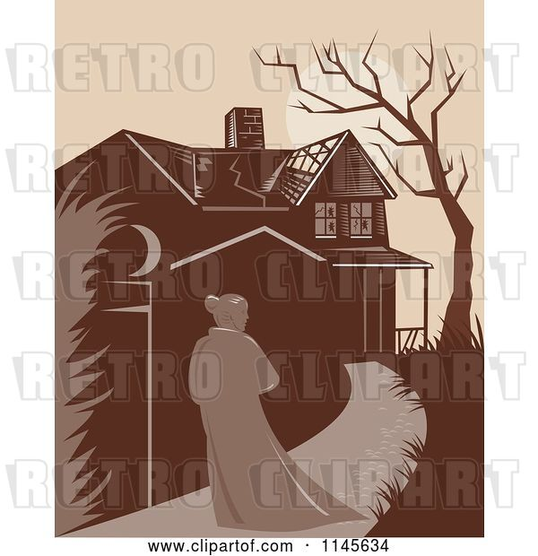 Vector Clip Art of Retro Lady Walking Towards a Dilapidated Mansion