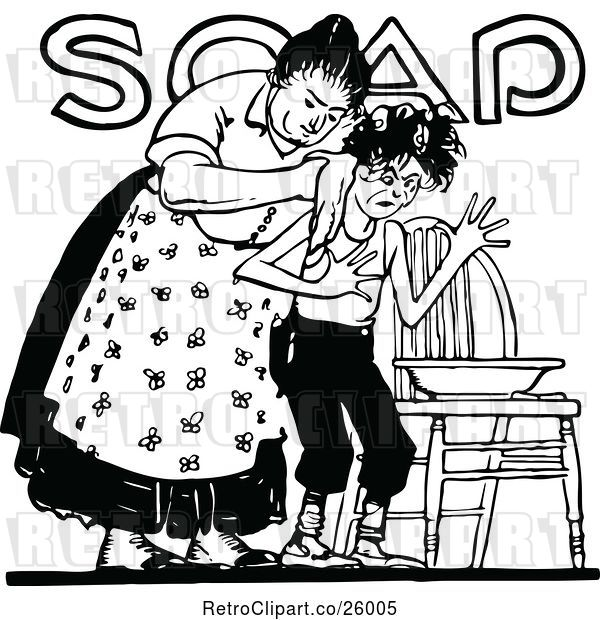 Vector Clip Art of Retro Lady Washing Her Son over Soap Text