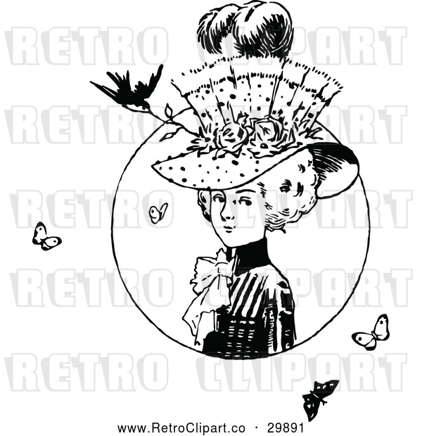 Vector Clip Art of Retro Lady with a Hat Butterflies and a Bird