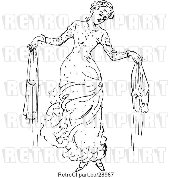 : Vector Clip Art of Retro Lady with Wet Laundry