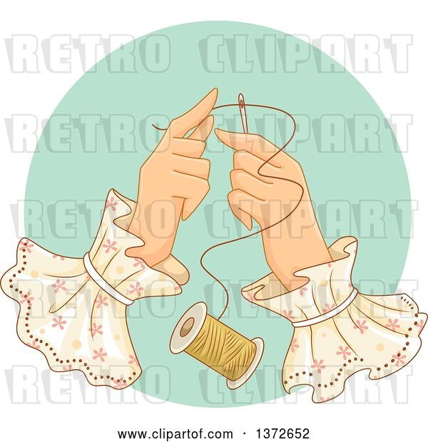 Vector Clip Art of Retro Lady's Hands Threading a Needle