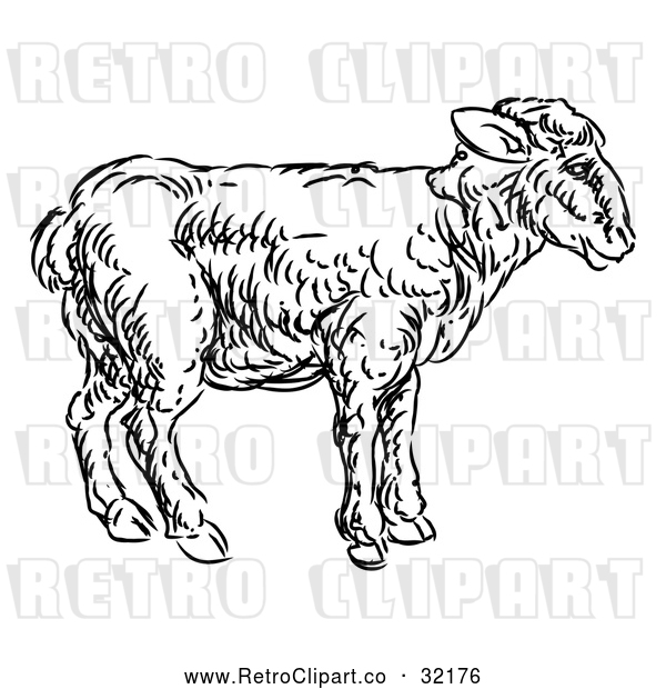 Vector Clip Art of Retro Lamb