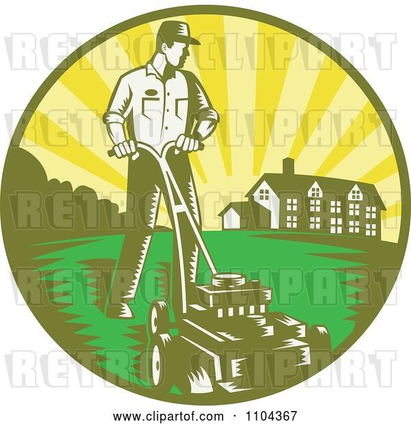 Vector Clip Art of Retro Landscaper Mowing a Lawn near a House