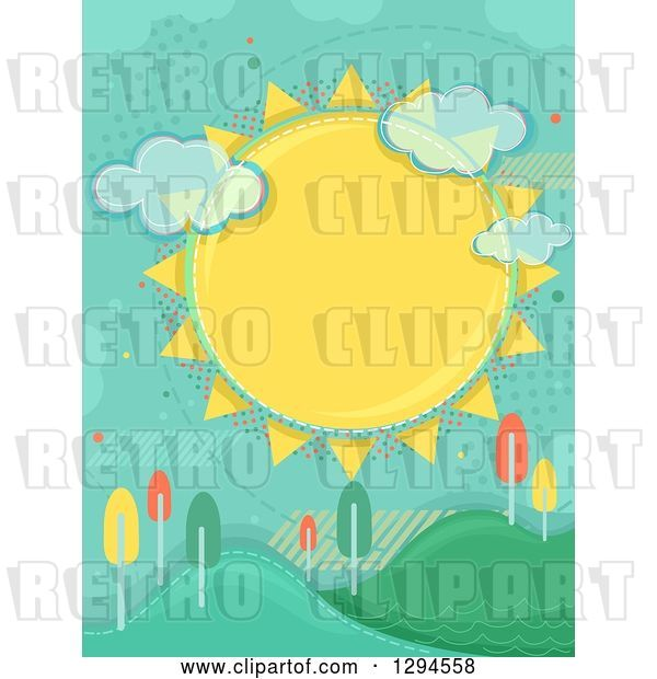 Vector Clip Art of Retro Large Sun with Clouds and Halftone over Hills with Colorful Autumn Trees