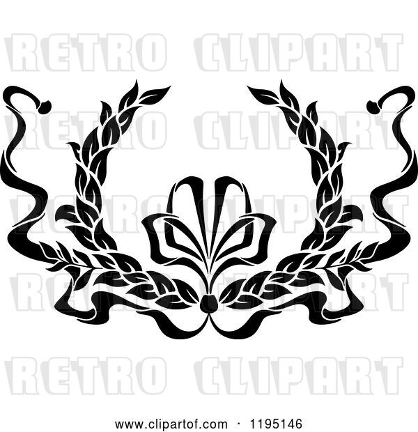 Vector Clip Art of Retro Laurel Wreath with a Bow and Ribbons 9