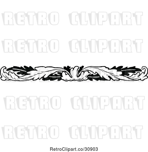 Vector Clip Art of Retro Leaf Border