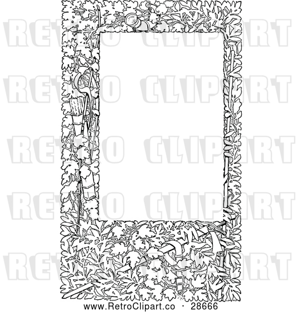 Vector Clip Art of Retro Leafy Frame