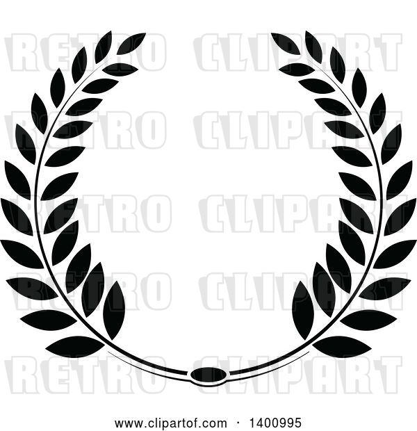 Vector Clip Art of Retro Leafy Wreath Design Element