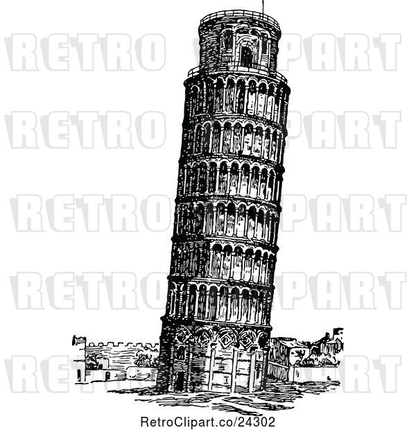 Vector Clip Art of Retro Leaning Tower of Pisa