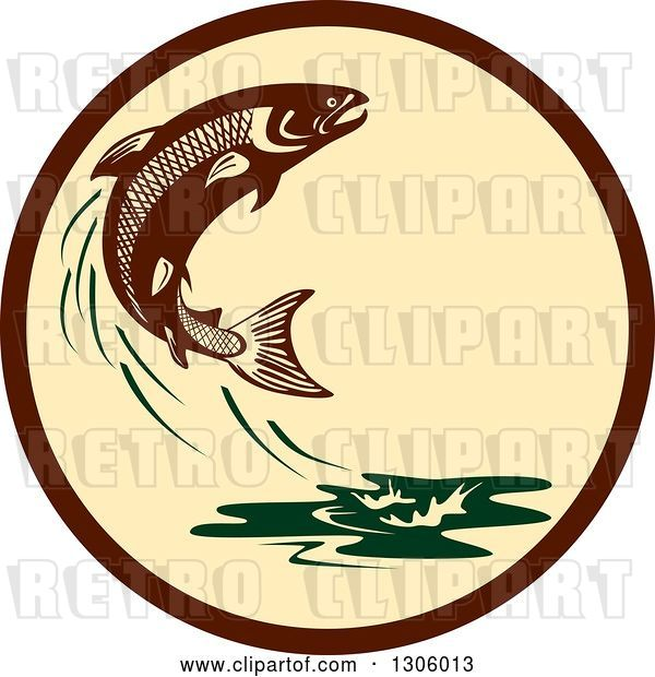 Vector Clip Art of Retro Leaping Atlantic Salmon Fish and Green Water Splash in a Brown and Tan Circle