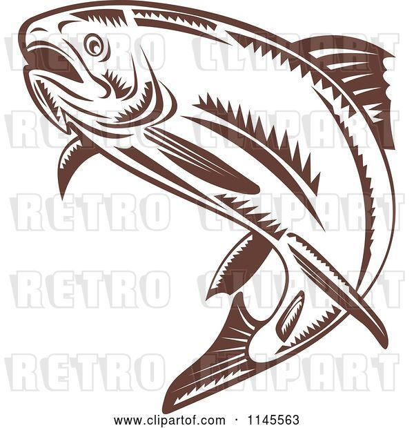 Vector Clip Art of Retro Leaping Brown Woodcut Trout