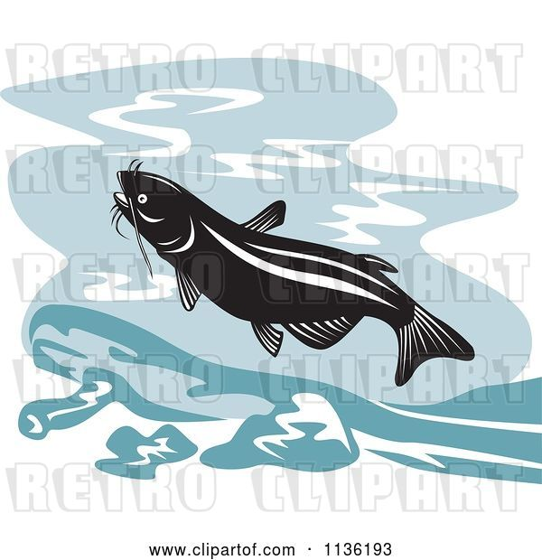 Vector Clip Art of Retro Leaping Catfish