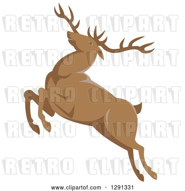 Vector Clip Art of Retro Leaping Elk Buck