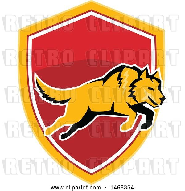 Vector Clip Art of Retro Leaping Orange Wolf over a Shield