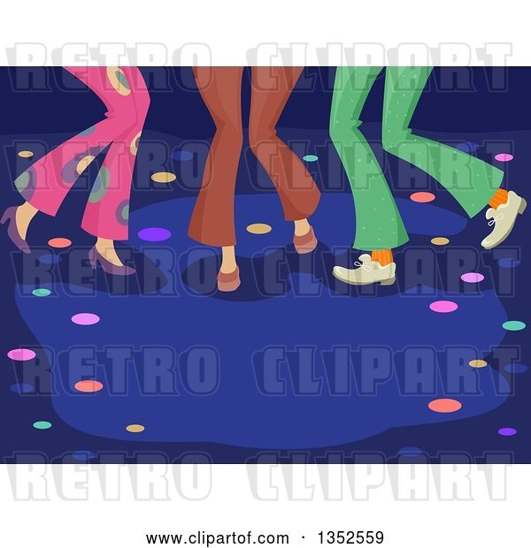 Vector Clip Art of Retro Legs of People Dancing at a Disco Club