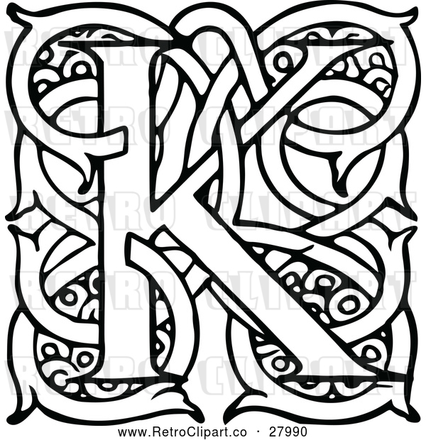 Vector Clip Art of Retro Letter K with Vines