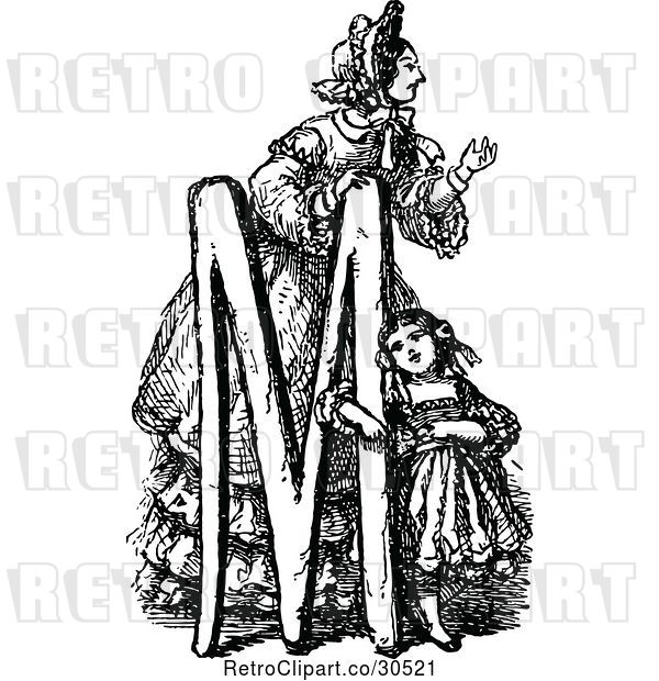 Vector Clip Art of Retro Letter M with a Mother and Daughter