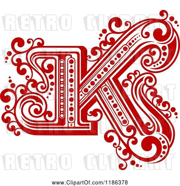 Vector Clip Art of Retro Letter N in Red