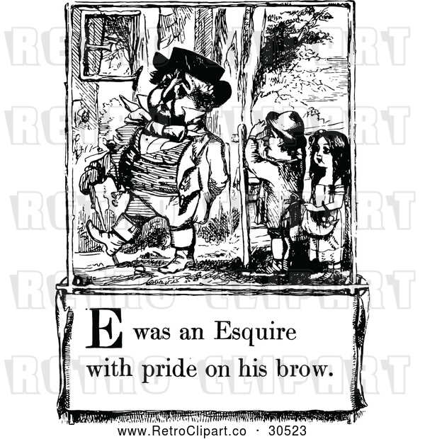 Vector Clip Art of Retro Letter Page with E Was an Esquire with Bride on His Brow Text