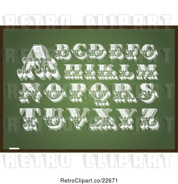Vector Clip Art of Retro Letters on a Chalkboard