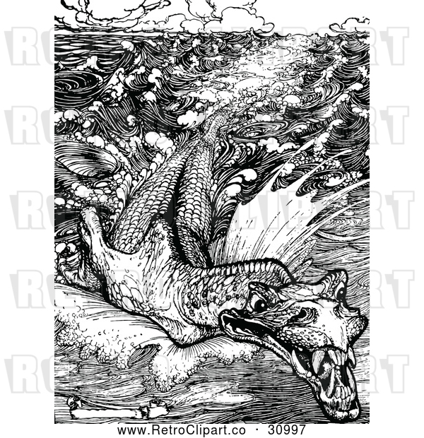: Vector Clip Art of Retro Leviathan Sea Monster