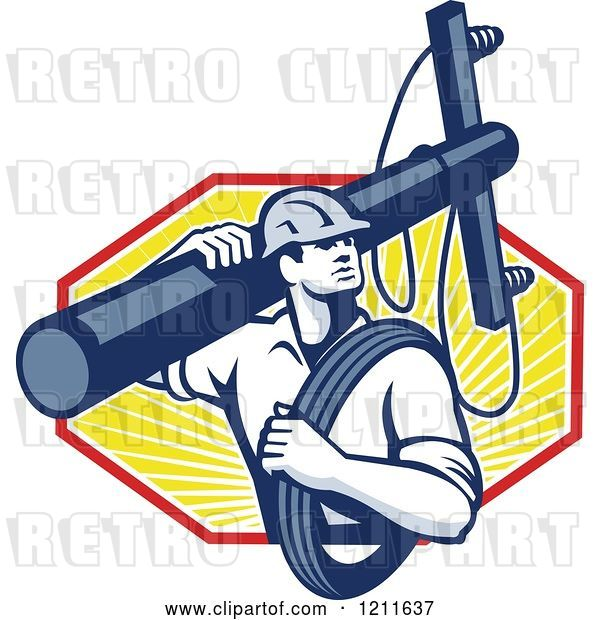 Vector Clip Art of Retro Lineman Worker Carrying a Pole and Cable over Rays