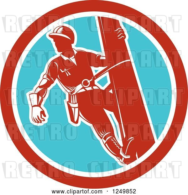 Vector Clip Art of Retro Lineman Worker in a Blue and Red Circle