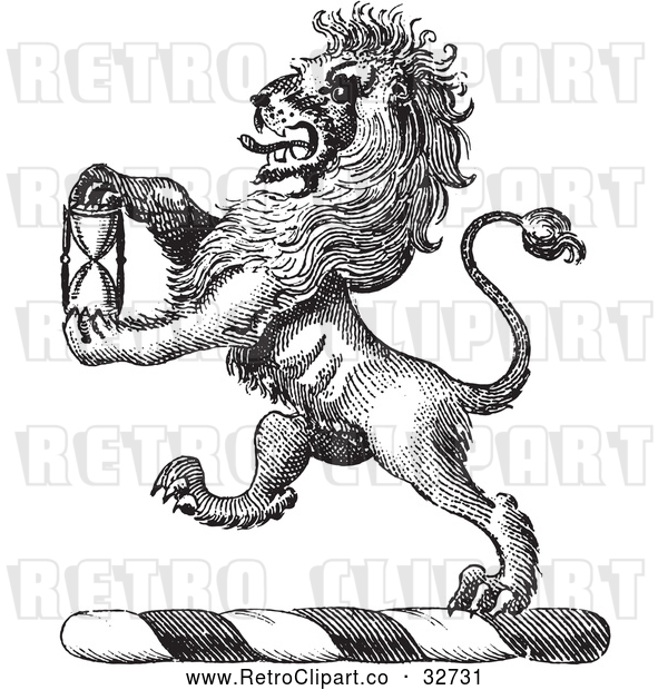 Vector Clip Art of Retro Lion Crest with an Hourglass