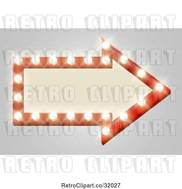 Vector Clip Art of Retro Lit Theater Arrow Shaped Sign with Lights, on Gray