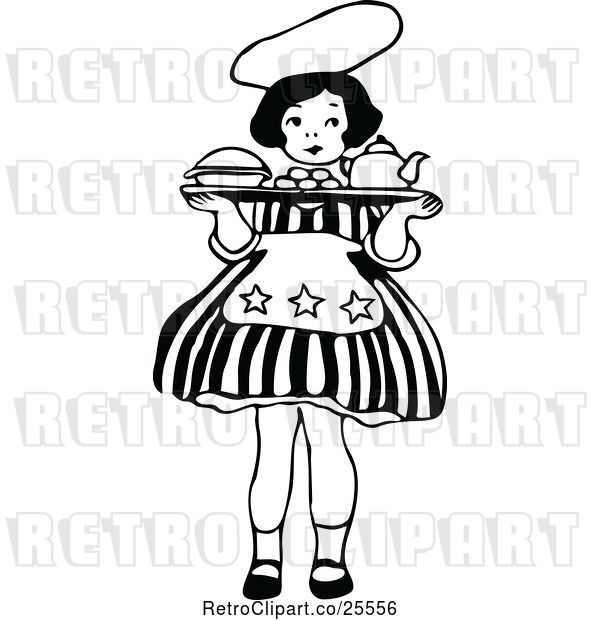Vector Clip Art of Retro Little Girl Carrying a Tray