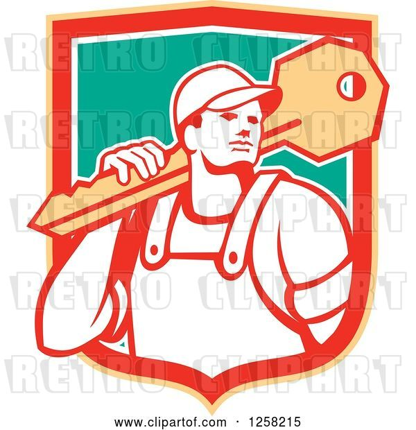 Vector Clip Art of Retro Locksmith Guy Carrying a Giant Key in a Yellow Red White and Green Shield