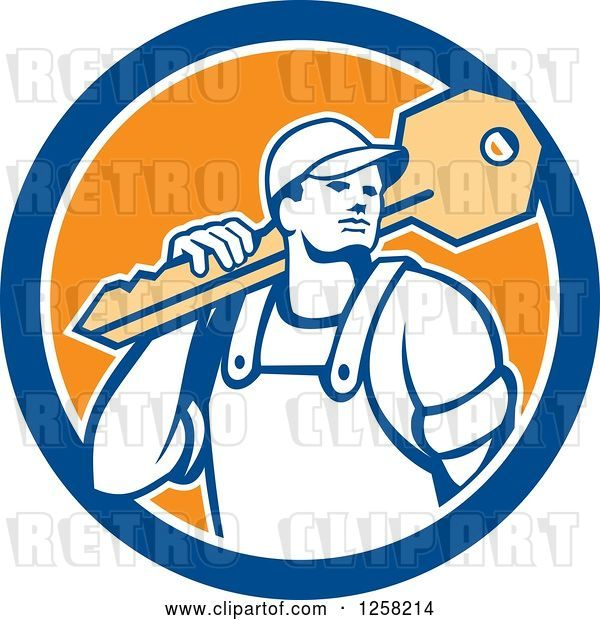 Vector Clip Art of Retro Locksmith Guy Carrying a Giant Key on a Blue White and Orange Circle