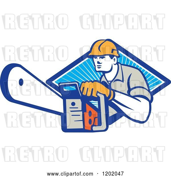 Vector Clip Art of Retro Logger Using a Chain Saw Emerging from a Diamond of Blue Rays