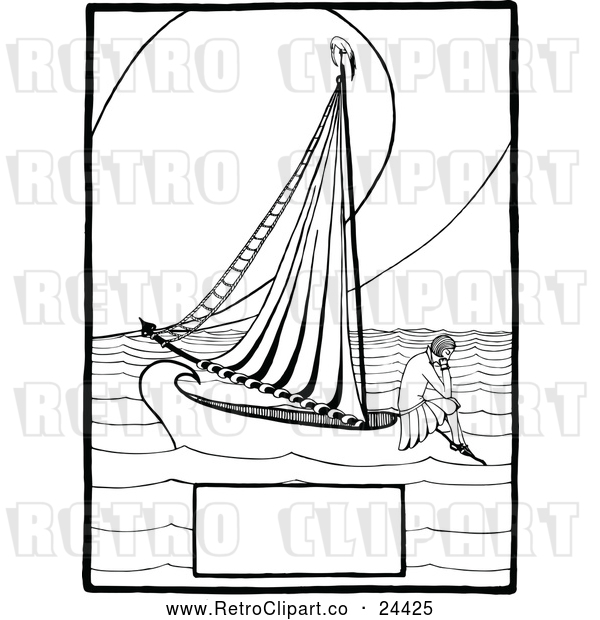 Vector Clip Art of Retro Lonely Girl on a Boat with Copyspace