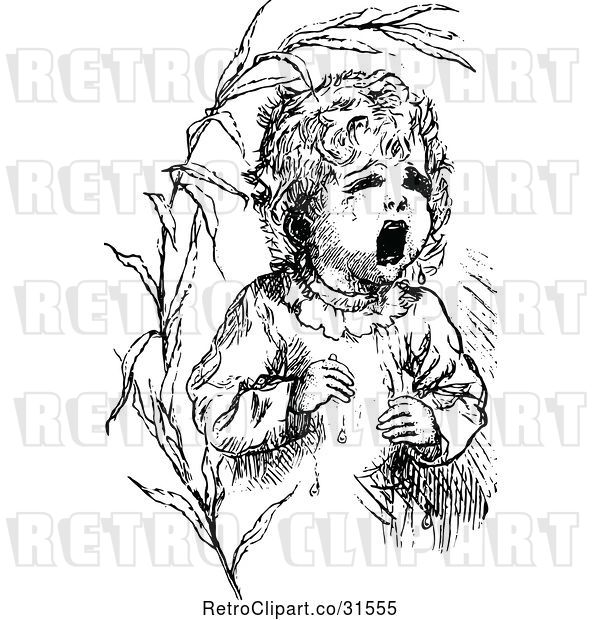 Vector Clip Art of Retro Lost Baby Crying