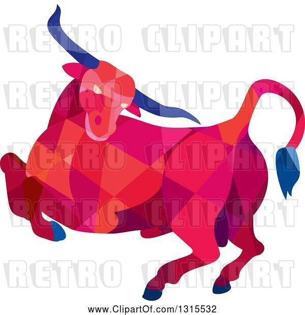 Vector Clip Art of Retro Low Poly Angry Red Geometric Texas Longhorn Steer Bull