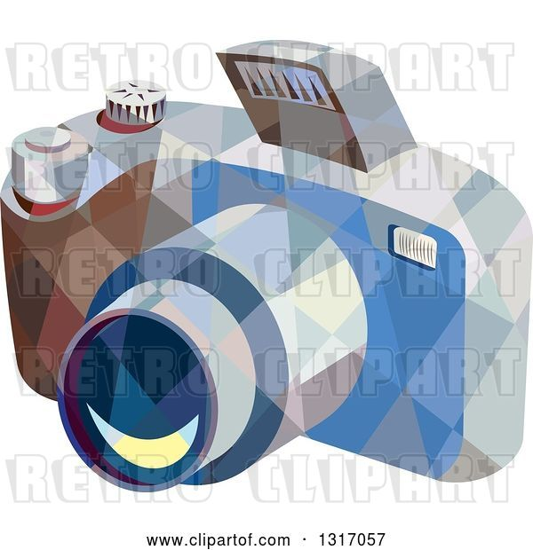 Vector Clip Art of Retro Low Poly Geometric DSLR Camera