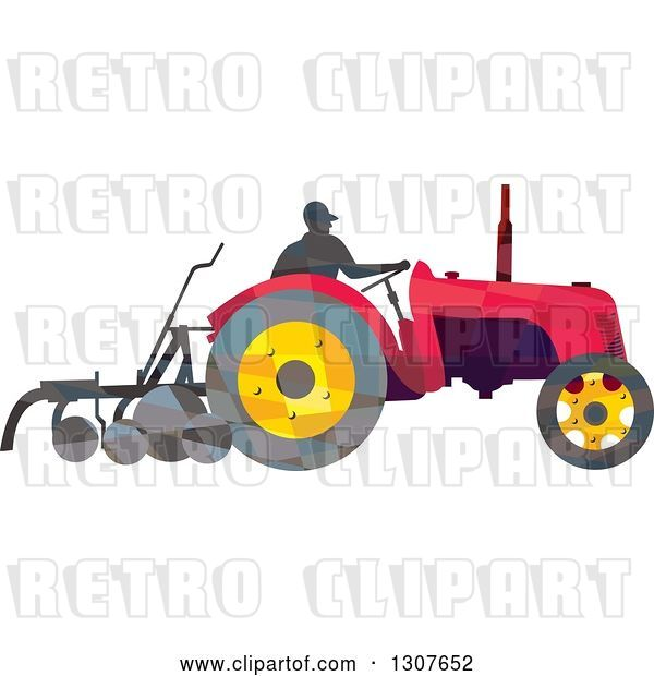 Vector Clip Art of Retro Low Poly Geometric Farmer Operating a Plow Tractor