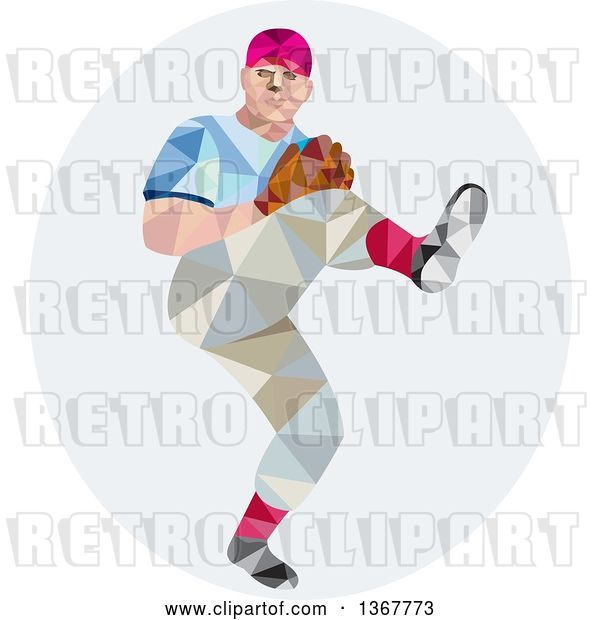 Vector Clip Art of Retro Low Poly Geometric Male Baseball Player Pitching in an Oval