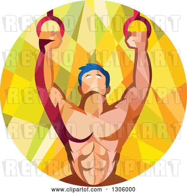Vector Clip Art of Retro Low Poly Geometric Male Crossfit or Gymnast Athlete Doing Kipping Pull Ups on Still Rings