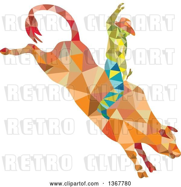 Vector Clip Art of Retro Low Poly Geometric Rodeo Cowboy Riding a Bull