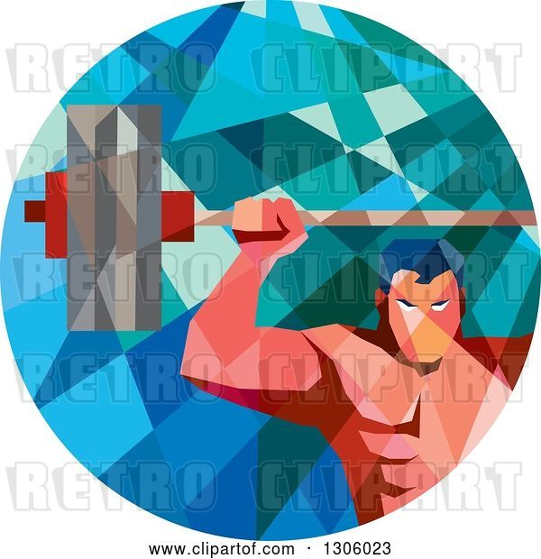 Vector Clip Art of Retro Low Poly Geometric White Bodybuilder Lifting a Barbell over His Head in a Circle