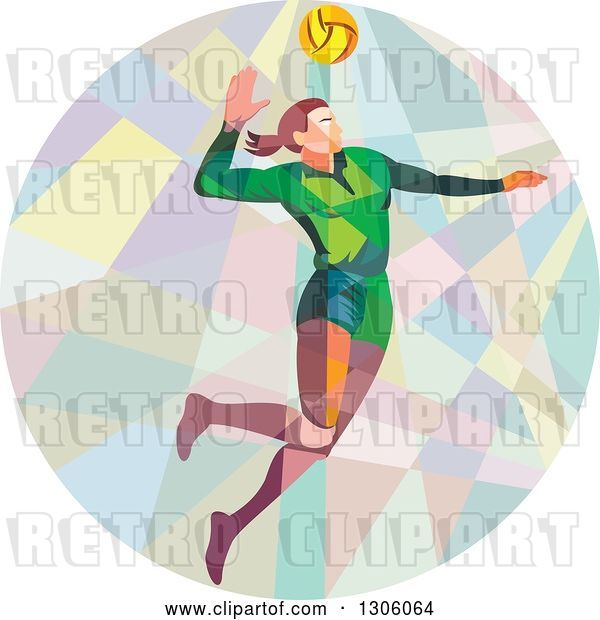 Vector Clip Art of Retro Low Poly Geometric White Female Volleyball Player Spiking in a Circle