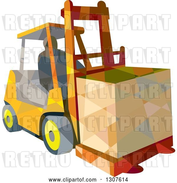 Vector Clip Art of Retro Low Poly Geometric Worker Operating a Forklift and Moving a Crate