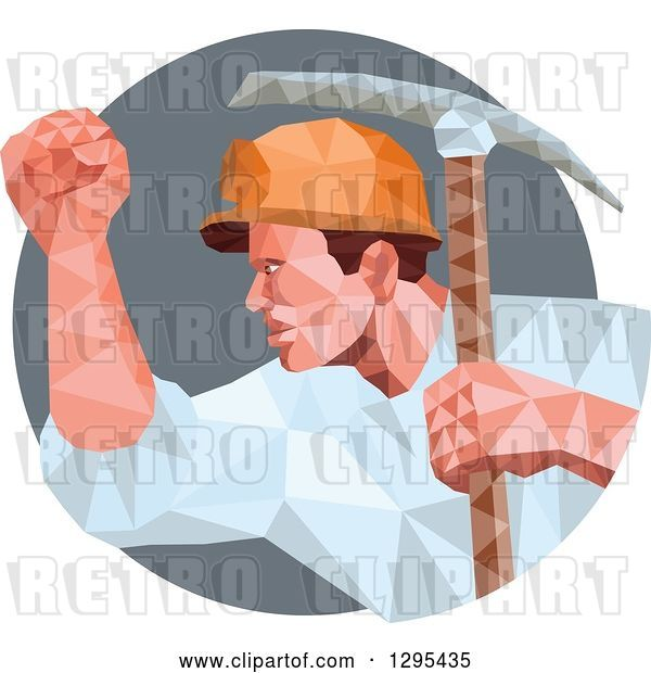 Vector Clip Art of Retro Low Poly Male Coal Miner with a Pickaxe and Fist in a Gray Circle