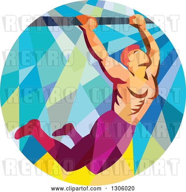 Vector Clip Art of Retro Low Poly Male Crossfit Athlete Doing Pull Ups on a Bar in a Circle