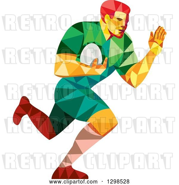 Vector Clip Art of Retro Low Poly Rugby Player Running