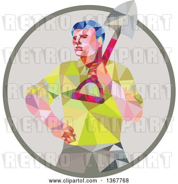 Vector Clip Art of Retro Low Poly Styled Male Gardener Holding a Shovel in a Circle